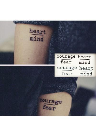 Tatouages éphémères Courage Fear + Heart Mind