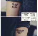 Tatouages éphémères Courage Fear + Heart Mind