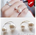 Bague double perle