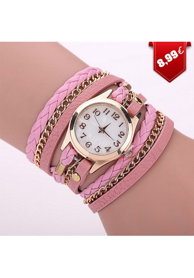 Montre Fashion simili-cuir Rose