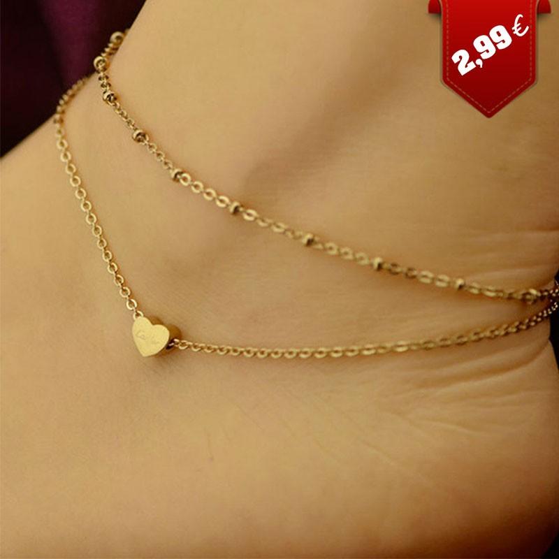 design exquis qualité de la marque gamme exceptionnelle de styles Chaîne de cheville avec coeur