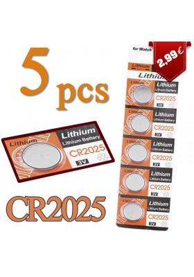 Lot de 5 Piles Lithium CR2025 3V pour Montres