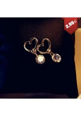 Boucles d'oreilles avec Coeur et Strass