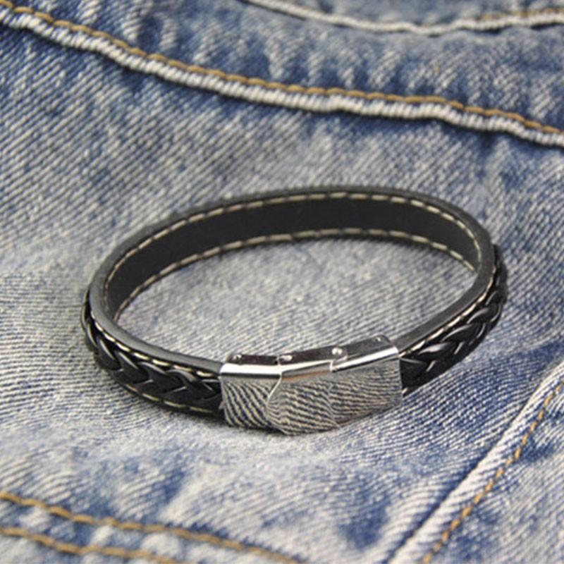 bracelet cuir tress homme noir pas cher. Black Bedroom Furniture Sets. Home Design Ideas