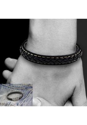 Bracelet Cuir Tressé Homme Noir