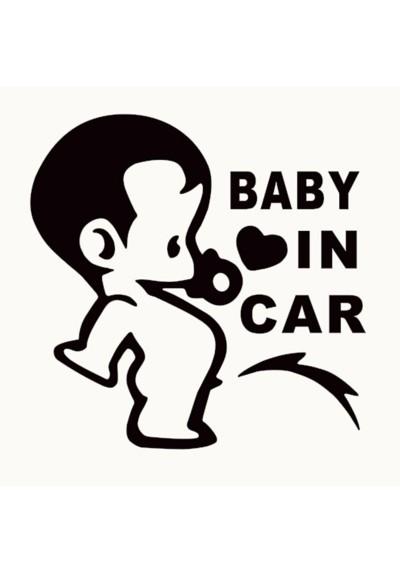 Sticker Auto Baby In Car Garçon qui fait pipi