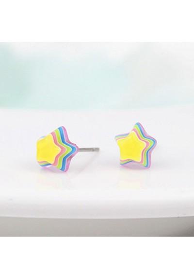 Boucles d'oreilles Etoile Arc En Ciel