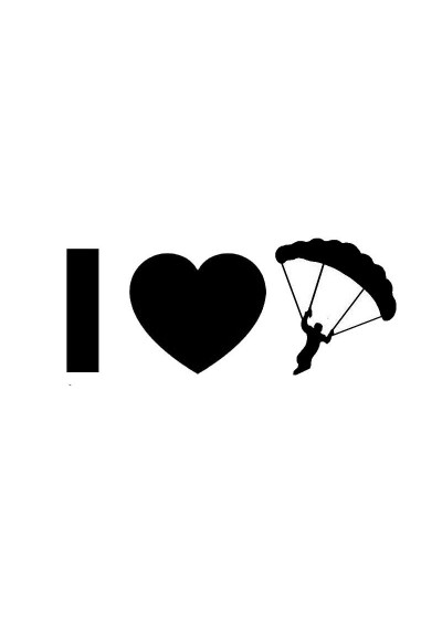 Sticker Auto I Love Parachutisme
