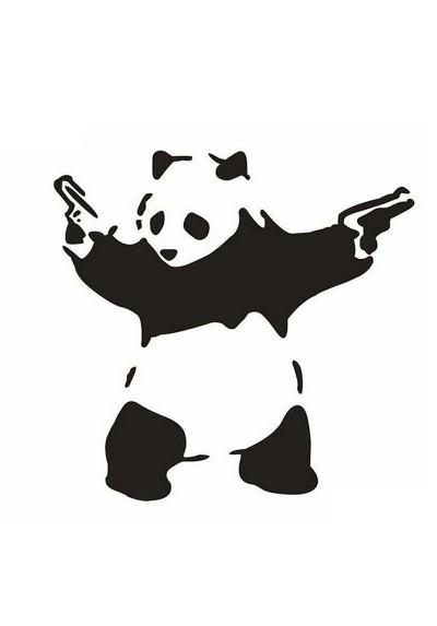 Sticker Auto Panda avec Pistolets