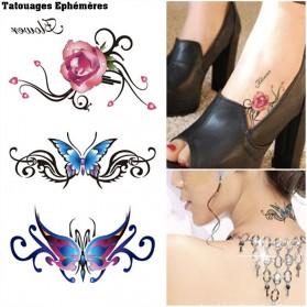 Tatouages Ephémères Tribal Femme Papillons
