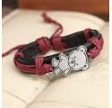 Bracelet en Cuir Femme Ourson Rose