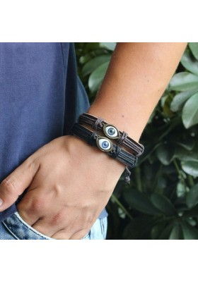 Bracelet Cuir Mixte Oeil Bleu