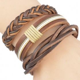 Bracelet Cuir Tressé Marron Homme (Lot de 3)