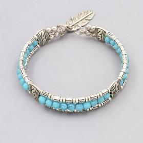 Bracelet Argent Turquoise avec Plume