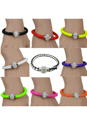 bracelet cuir tressé Blanc