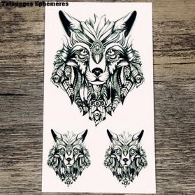 Tatouages Ephémères Loup Indien