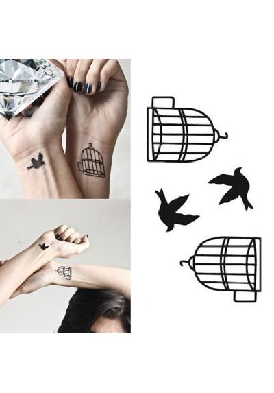 Tatouage Cage Oiseau Ephémère