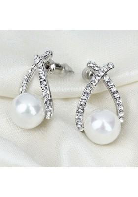 Boucles d'oreilles avec perle et strass