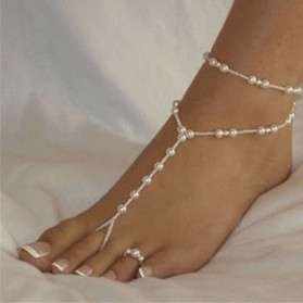 Chaîne de Cheville Imitation Perles + Bague