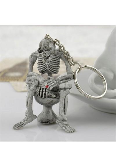 Porte Clé Squelette Fumeur aux Toilettes