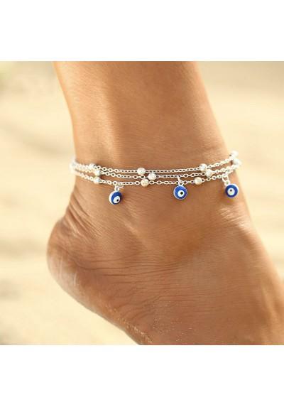 Chaîne Bracelet de cheville argenté Yeux Bleus