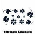 Tatouages Ephémères Trèfles et Fleurs