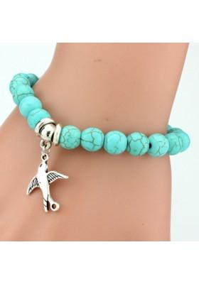 Bracelet Turquoise avec oiseau