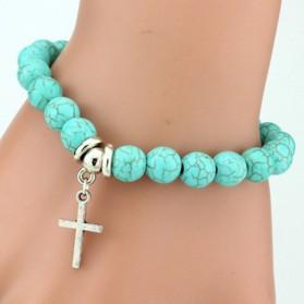Bracelet Turquoise avec Croix