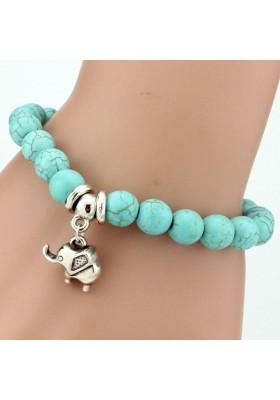 Bracelet Boules Turquoise avec éléphant