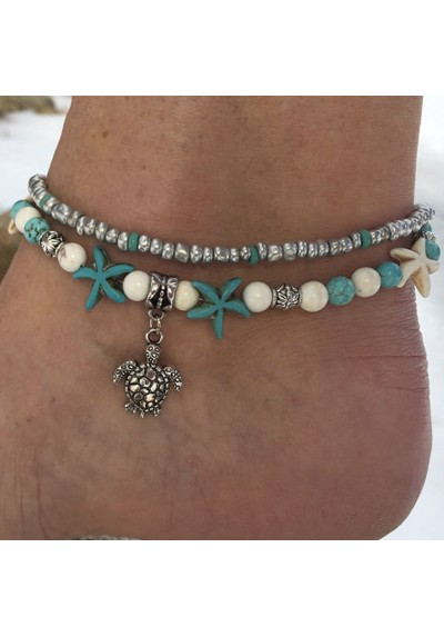 Chaîne Bracelet de Cheville Tortue et Etoile de Mer