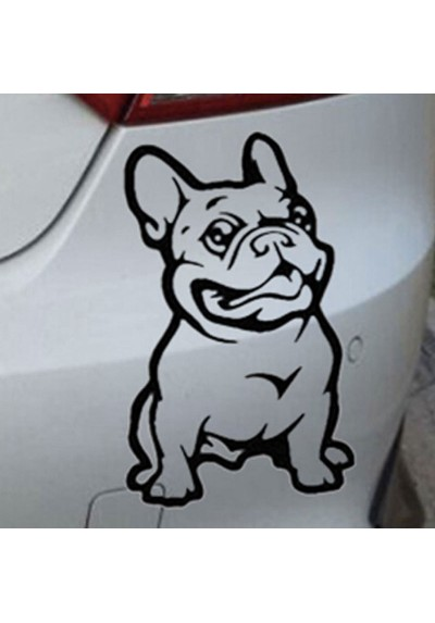 Sticker Vinyle Auto Moto Maison Chien Bulldog