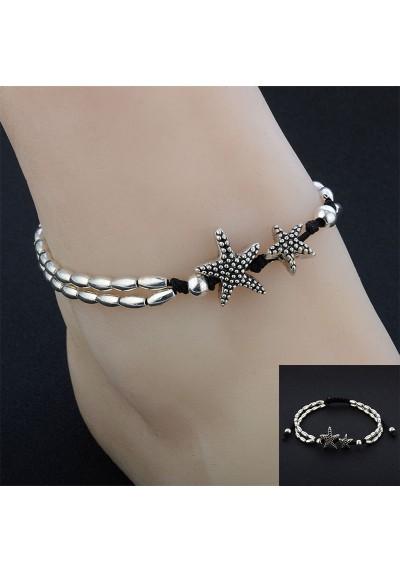 Chaîne Bracelet de Cheville avec 2 étoiles des Mers