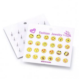 Lot de 12 Paires de Boucles d'Oreilles Smiley