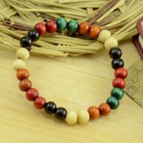 Bracelet Ethnique Perles de Bois Multicouleur