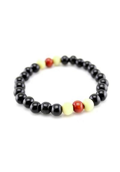 Bracelet Ethnique Perles de Bois Noir