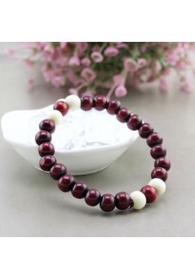 Bracelet Ethnique Perles de Bois Rouge