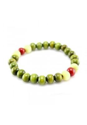 Bracelet Ethnique Perles de Bois Vert