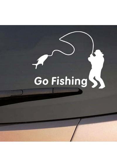 """Sticker Auto véhicule pour Pêcheur """"Go Fishing"""""""