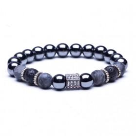 Bracelet Mixte Homme Femme Perles Grises et Breloques