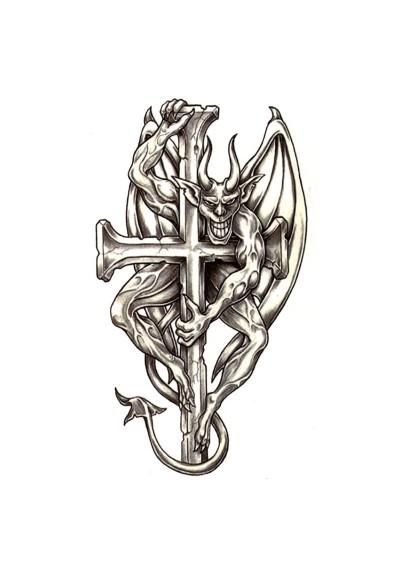 Tatouage Temporaire Ephémère Diable sur Croix