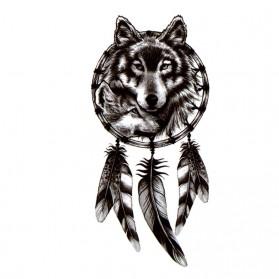 Tatouage Ephémère Temporaire Attrape-rêves Loup et Louveteau