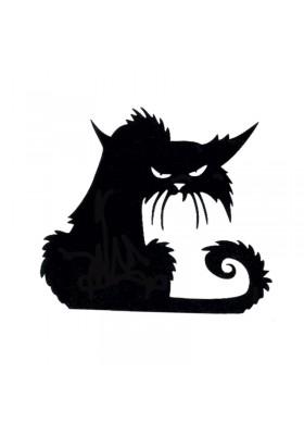 Tatouage Temporaire Ephémère Chat Noir de mauvaise humeur