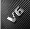 Sticker Auto Tuning V6 Chrome Métal 3D