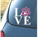 Sticker Auto Bateau Maison Love Patte Chien Chat