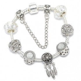 Bracelet Charms Style Pandora Attrape-Rêves Blanc
