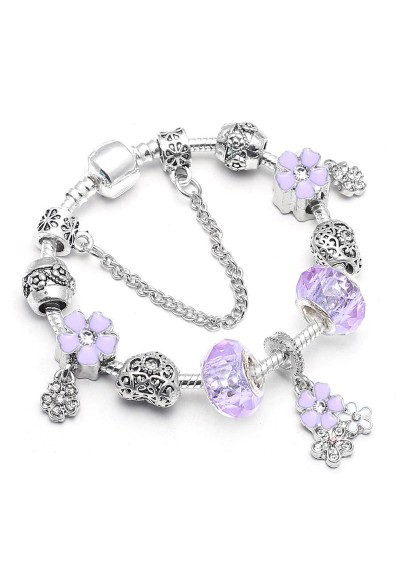 Bracelet Charms Style Pandora Violet Fleurs
