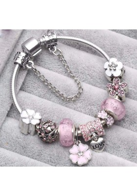 Bracelet Charms Style Pandora Fleurs Rose