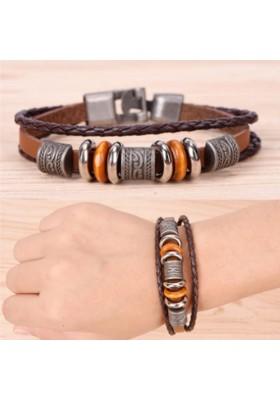 Bracelet Cuir Marron Homme Antique Tribal