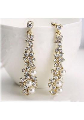 """Boucles d'oreilles longues avec strass et """"perle"""""""