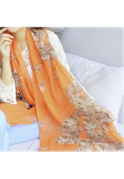 Foulard à motifs (orange) (150 cm X 40 cm)